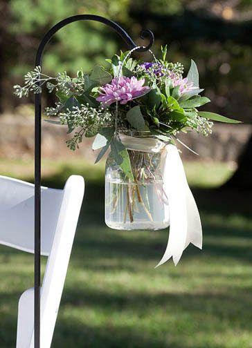 Shepherd Hook with Mason Jar Flower Vase - Vic http://www.charmingdecor.ca/catalogue/aisle-markers-shepherd-hooks/#