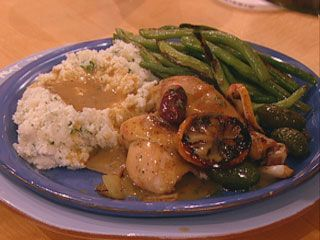 Roast lemon Chicken w/ lemon-thyme-grav, mashed potatoes and green-beans: Chicken Recipes