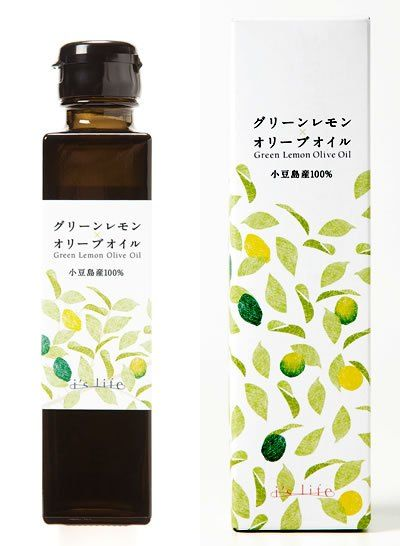 Packaging design of olive oil produced by Japanese brand I's Life. islife-olive.com