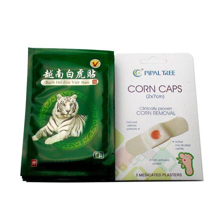 [Visit to Buy] 48Pcs White Tiger Balm Plaster+5Pcs Foot Corn Treatment Patch Toe Corns Remover Detox Foot Pad Patch Massager D0028 #Advertisement