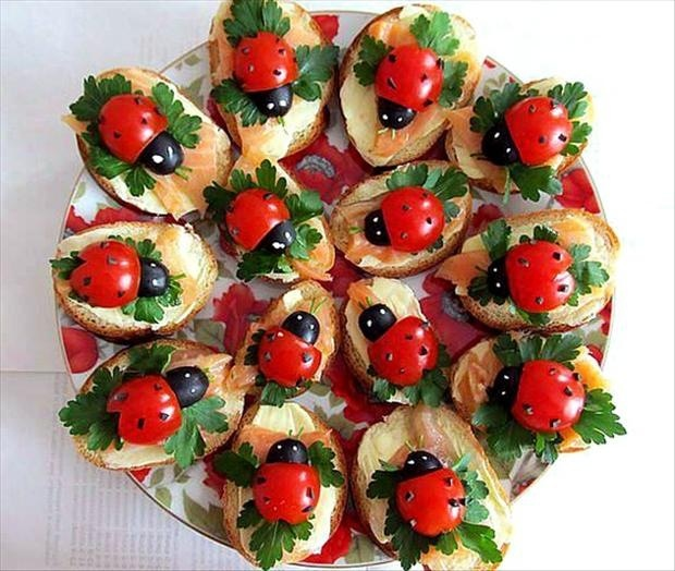 Lady bug finger food