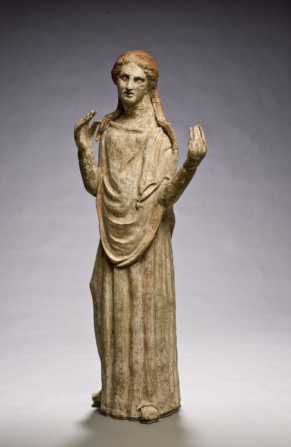 Etruscan terracotta statue of a vestal virgin c.300BC. San Antonio museum of art