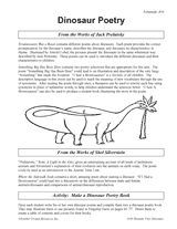 Suggestions for writing dinosaur themed poetry https://www.teachervision.com/dinosaurs/printable/38959.html #PoetryMonth #Dinosaurs