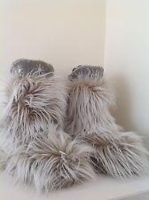Las nuevas botas peludas invierno de la nieve por apres térmicas crema verde animal esquí Reino Unido 4 / UE 37