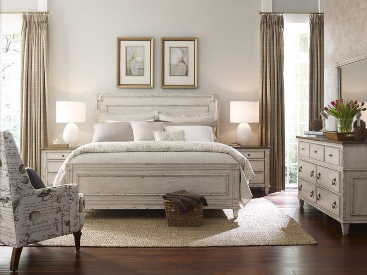 American Drew Southbury 4pc Panel Bedroom Set In Fossil And Parchment