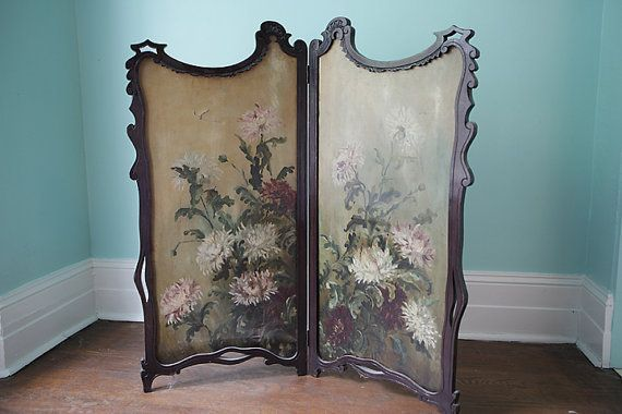 victorian fireplace folding screen oil paint antique crysanthemum ...
