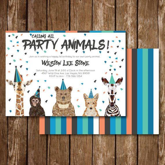 Chiamando tutti i Party Animals compleanno invito di Wozyworks