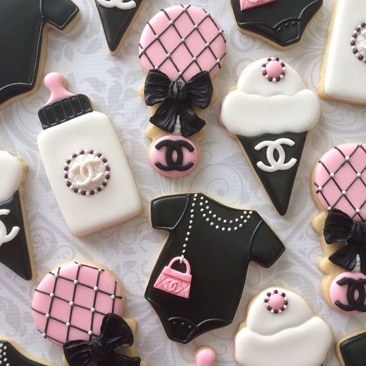 """340 Likes, 23 Comments - Anna (@thesweetesttiers) on Instagram: """"Baby Chanel cookies. Inspiration for these came from customer images. Swipe for more images.…"""""""