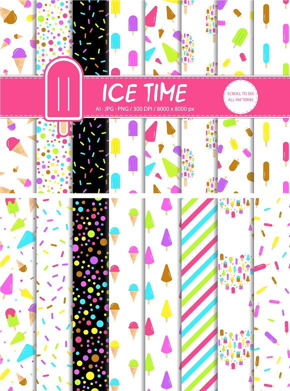 16 Ice Cream Icon Patterns by Nadezda Gudeleva on @creativemarket