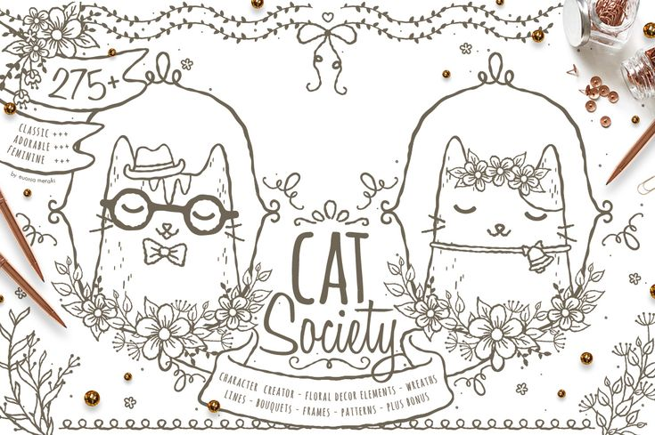 """Cat Society - Character Creator Kit  Introducing """"Cat Society"""", not only as a character creator, this graphic pack also included floral decorative elements! Easy ways to add personalised touch to your designs. Logo, branding, invitation, greeting cards, nursery wall art, merchandise, wedding, bridesmaid gifts and so much more."""