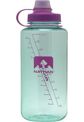 Offering a 32-ounce capacity, this Nathan® BigShot water bottle will help keep you hydrated whether you're running, biking or battling a long work day! A narrow spout makes for easy sipping, and the wide mouth is easy to clean and is sized to handle some ice cubes. The bottle is made from odorless, tasteless Eastman® Tritan® material and features a tethered lid with a leakproof design.