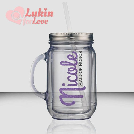 Brides...your bridal party will LOVE these personalized mason jar tumblers!
