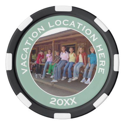 #Create A Vacation Souvenir with Photo and Text Poker Chip Set - #familyreunion #family #reunion