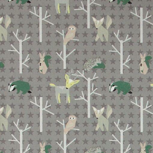 Bomuld grå /stjerner m skovens dyr