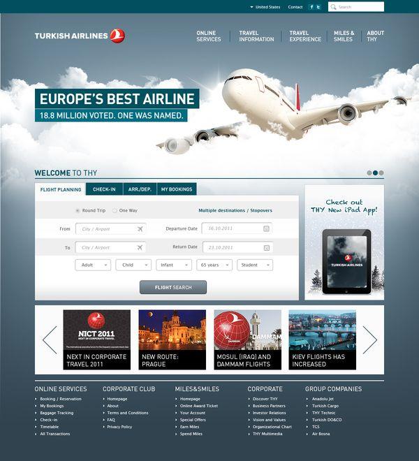 Turkish Airlines - Corporate Website Redesign by Umut Isbilir, via Behance