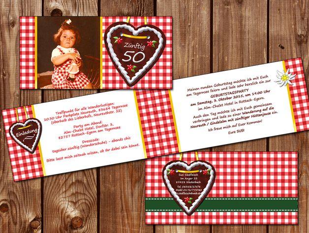 Einladungskarten - Einladung Geburtstag à la Oktoberfest - ein Designerstück von zelka bei DaWanda