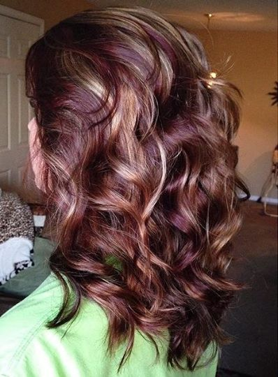 red lowlights & blonde highlights on brown hair