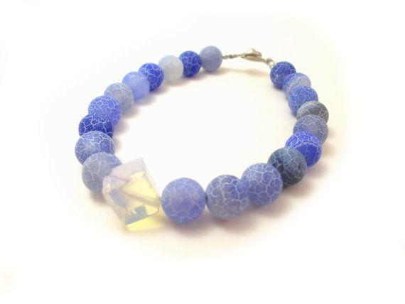 Blue Agate Bracelet Sky Blue Beaded Bracelet by EfZinCreations, $21.50