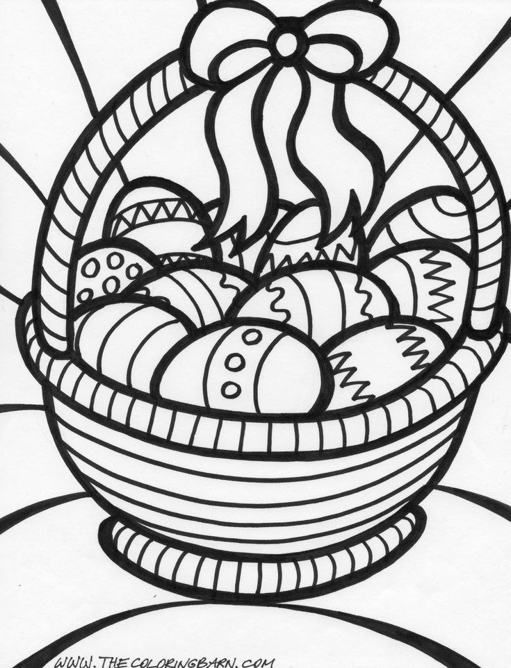 easter coloring pages big easter basket coloring page