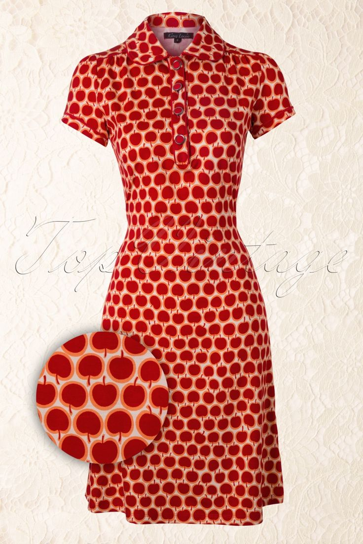King Louie - Retro Polo Dress Apple in Red