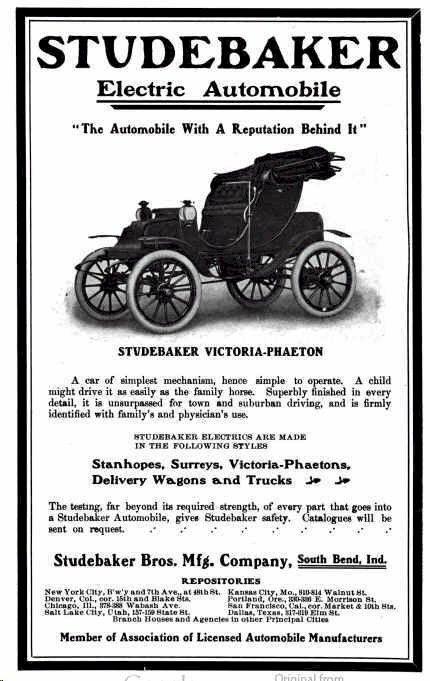 1905 Studebaker Electric Automobile Advertisement