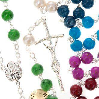 Rosario chapado plata vidrio | venta online en HOLYART