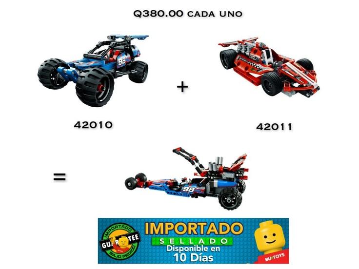 La combinación de dos grandes modelos para crear este auto de gran velocidad. Créalo uniendo los sets 42010 el carro de carreras u el 42011 carro de carreras todo terreno.   Pide estos grandes sets enviando un correo a legoalmejorprecio@icloud.com y que empiecen las carreras.