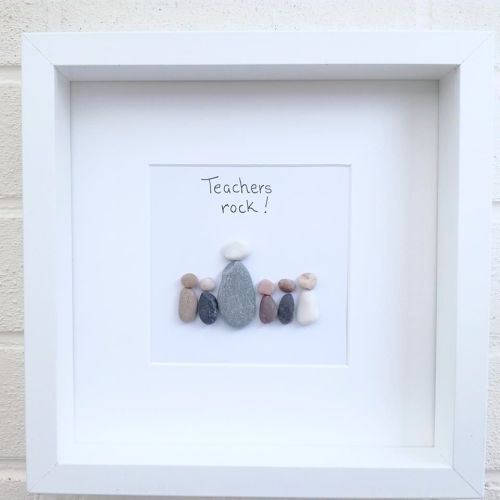 Pebble art picture teachers thank you teacher gift home decor handmade