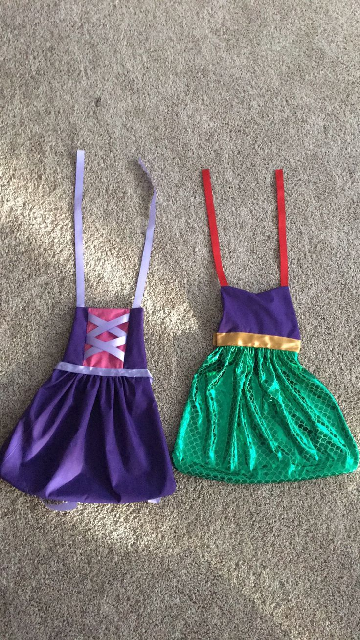 DIY princess aprons: find an apron pattern for toddlers you like. Find pictures of princess dresses and pick a color scheme that works. Tangled was purple and pink, Ariel was purple red and fish scales. Super easy to make and fun for girls to dress up. I got everything from hobby lobby for less than $20 use a coupon!