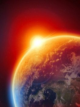 Sunrise on Earth. It takes 8,3 minutes before the sunlight will reach the earth ( in summertime it takes 0,17 seconds more).                                                                                                                                                                                 More