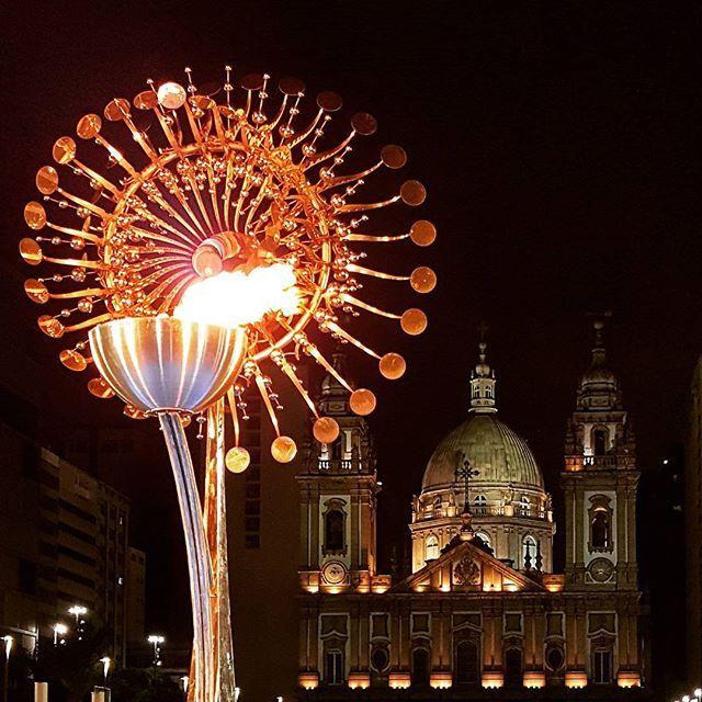The Olympic flame outside Candelária Church, Rio de Janeiro.