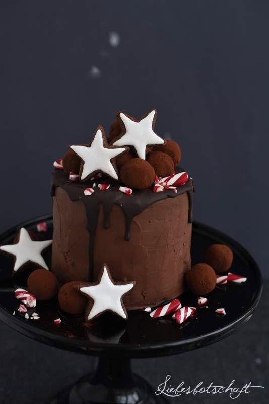 Liebesbotschaft: Weihnachtliche Lebkuchentorte mit Rotweinkirschen, Rotweintrüffel + Verlosung.