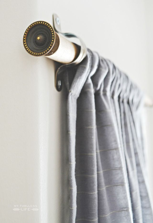 Create your own custom curtain rods with 3 supplies and for under $10 each! | MyFabulessLife.com