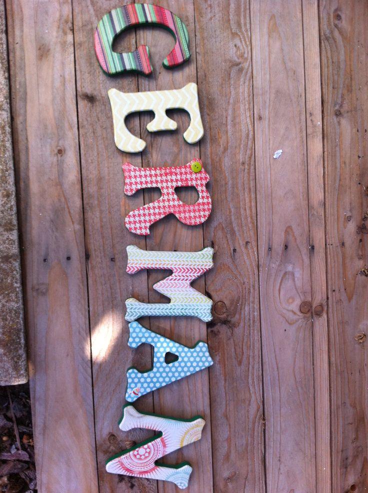 Letras decorativas para poner en la pared. 15x15 cm.  Eljardindelosnombres Ibiza Facebook