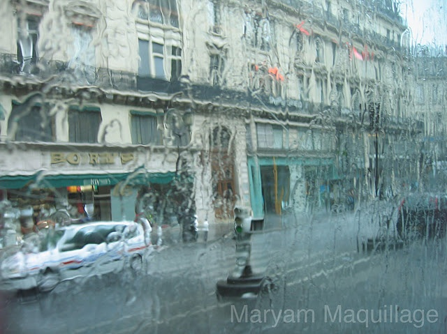 Paris rain against the bus window