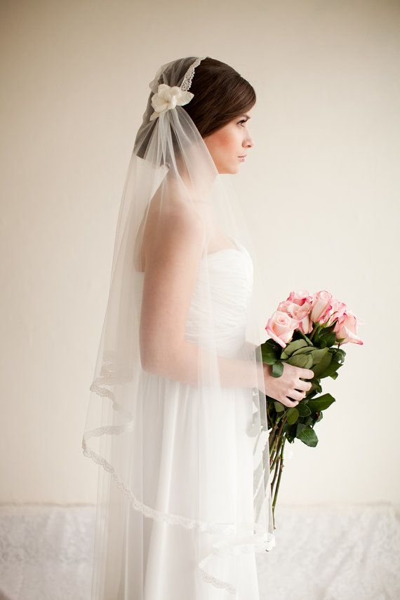 Juliet Cap Veil by MelindaRoseDesign on Etsy: A tulle juliet cap bridal veil trimmed with lace and finished with silk flowers with rhinestone centers and velvet leaves.