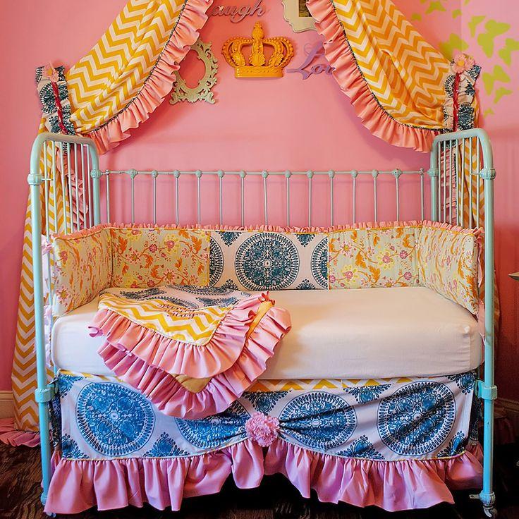Beautiful boho crib bedding! Love the mix of prints.