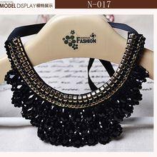 Para mujeres, oro hermoso flores estrella Collar negro de la cinta, negro mujeres Collar Collar falso accesorios de ropa de moda(China (Mainland))
