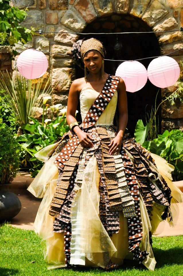 A bride in a traditional Sotho dress featuring Shwe Shwe fabric
