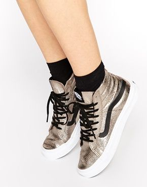 Enlarge Vans Sk8-Hi Slim Metallic Leather Trainers