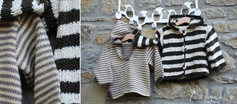 Knit black, white and grey striped hooded sweaters for toddlers handmade by Atelier Faggi -  Righe alte e righe basse di colore contrastante per due maglioncini con cappuccio... by Atelier Faggi.