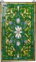Crowned White Tuberose in Green and Blue Stained Glass Window