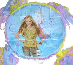"Hannah Montana Birthday Party Pinata New by Bday parties. $15.99. Tissue paper streamers. Attached loop hanger. Hannah Montana party pinata. Miley Cyrus party pinata. Hannah Montana Custom Party Pinata    Your Hannah Montana party is not complete without a Hannah Montana pinata. The pinata is 15 x 15 x 3.5"". Fill it with candy and party favors for a fun party game. The item is new. This pinata is custom made to order mylar party pinata. This listing is for the pin..."