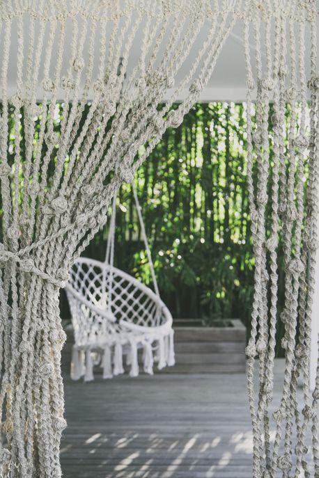 Jute Macrame Door Curtain - Natural with Knots - 120cmW by The Dharma Door