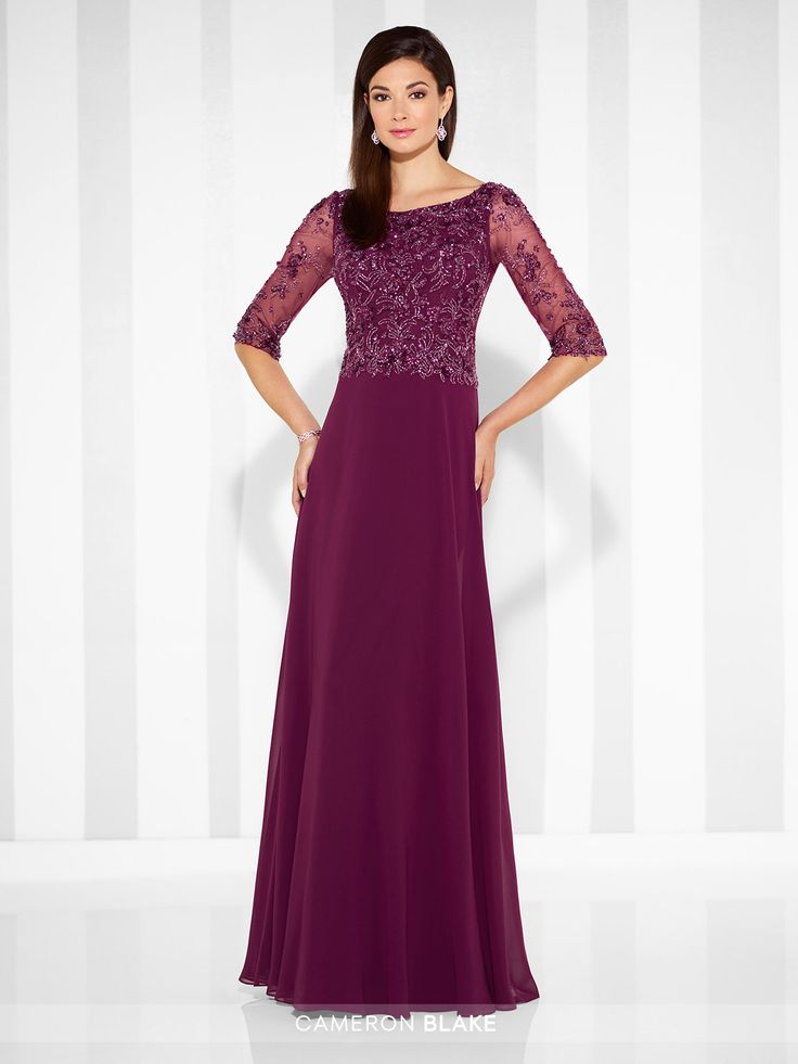 Chiffon A-line gown with hand-beaded illusion three-quarter length sleeves, Sabrina neckline, hand-beaded bodice. Sizes: 4 – 20, 16W – 26W Colors: Merlot, Navy Blue, Gray