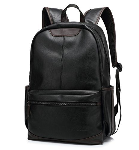 BAOSHA BP19 Younger PU Leather 15 inch Laptop Backpack School College Rucksack Daypack Black * Details can be found by clicking on the image.
