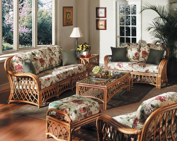 Country Living Room With Rattan Sofa And Floral Fabric Sofa ...