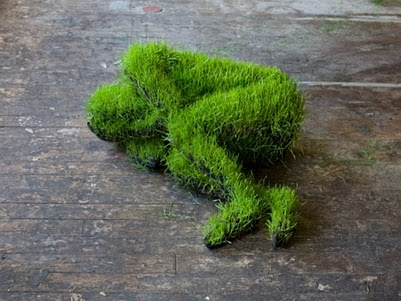 Sculpture, grass man, sleeping