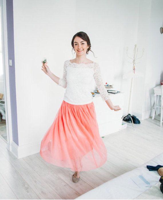 Corinne  Tea Length Tulle Skirt Coral Tulle Skirt by CestCaNY