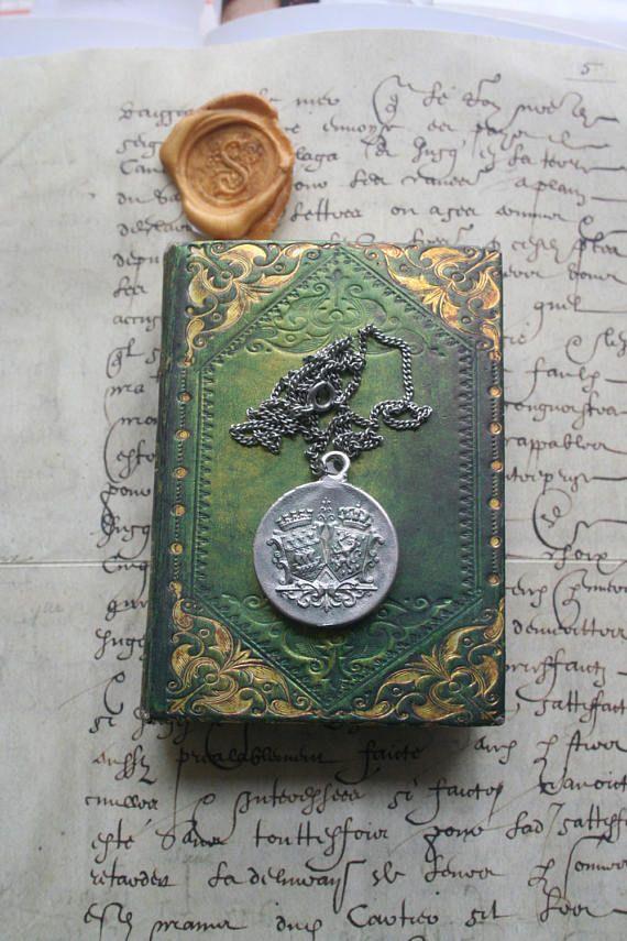 Wax seal pendant Heraldic seal pendant crested decorative